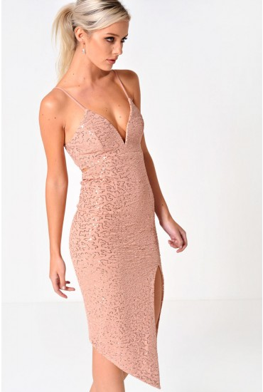 Stacey Pluge Sequin Dress in Natural