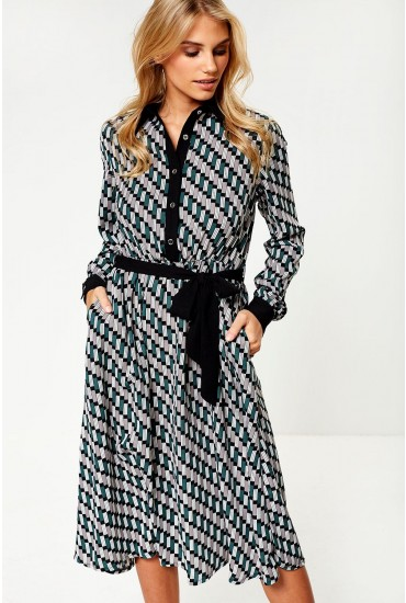 Cara Midi Dress in Green Geometric Print