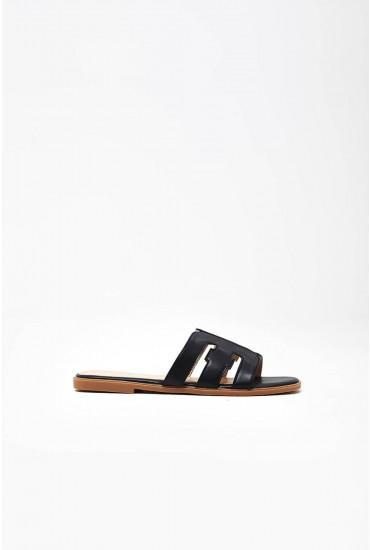 Lucila Flat Sandals in Black