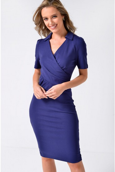 Priya Collar Bodycon Dress in Navy