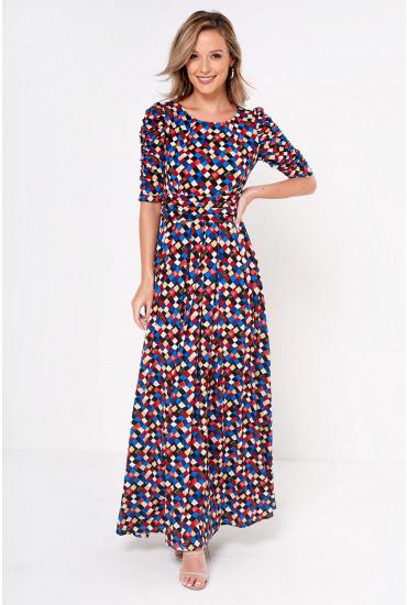 Charlotte Geometric Print Maxi Jersey Dress