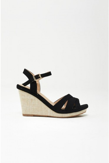 Adki Espadrille Wedge Sandals in Black
