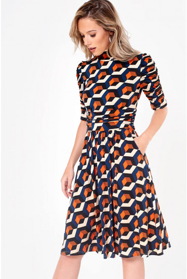 Kate Geometric Print Jersey Dress