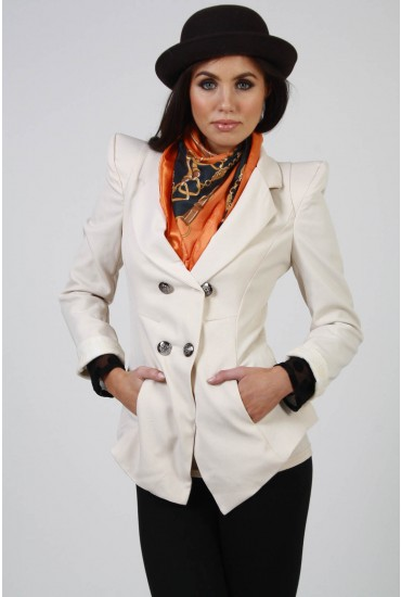 Evelyn Double Breasted Jacket in Beige