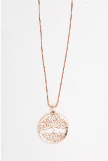 Ariane Long Pendant Necklace in Rose Gold