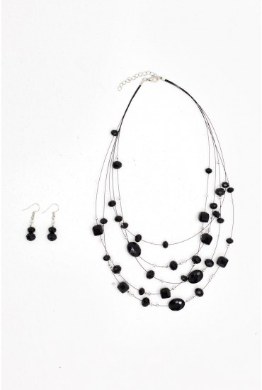 Jena Jewel Layered Necklace and Earring Set in Black