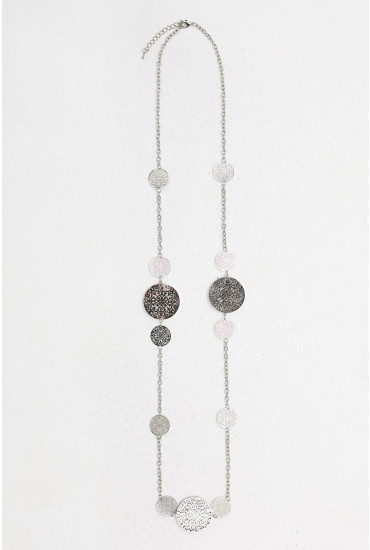 Hope Disc Statement Necklace in Silver