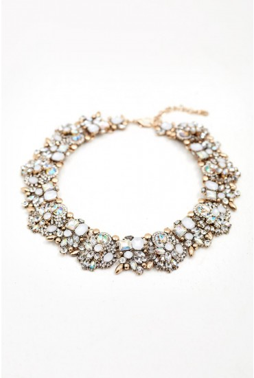 Mathilde Crystal Statement Necklace in White