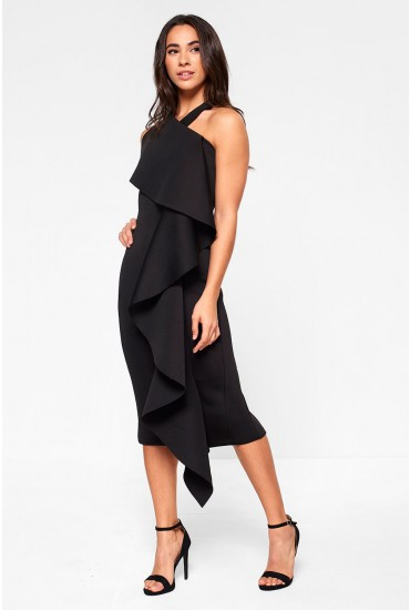 Lavish Alice Frill Halterneck Midi Dress in Black