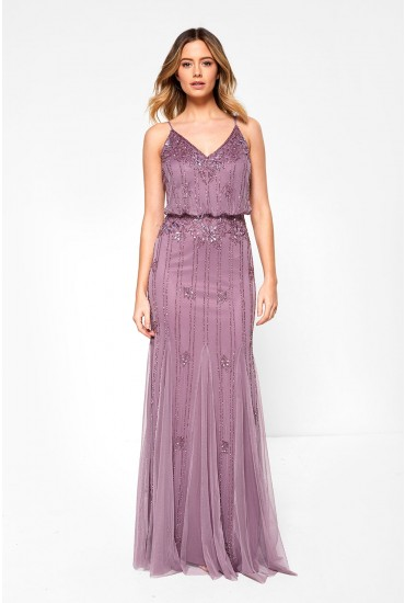 Keeva Hand Embellished Maxi Dress in Mauve