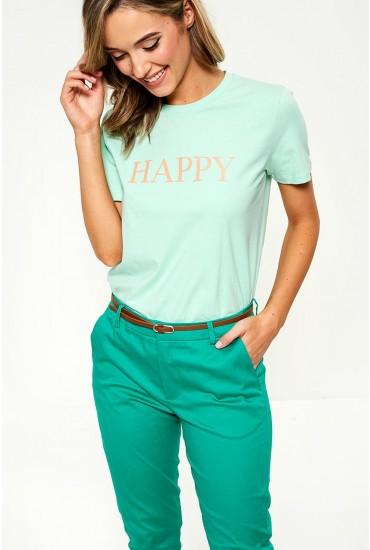 Pandina Happy Slogan T-shirt in Mint