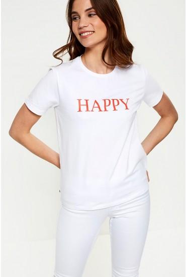 Pandina Happy Slogan T-shirt in White