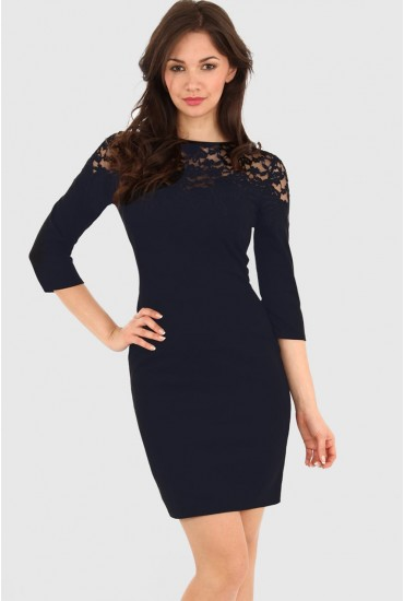 Hayley Lace Shift Dress in Navy