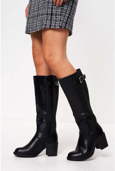 Riley Heeled Knee Boots in Black