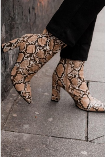 Mya Heeled Sock Boots in Snakeskin
