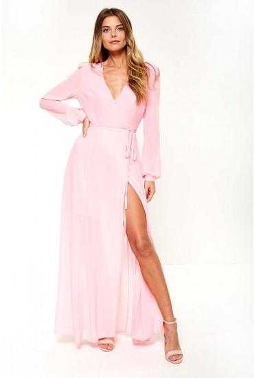 Heidi Wrap Maxi Dress in Bright Pink
