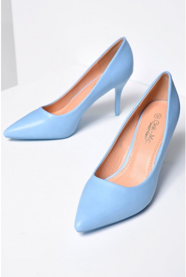 Meghan Pointed Court Shoe in Pale Blue