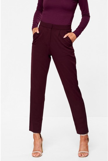 Lara High Waist Ankle Trousers in Plum