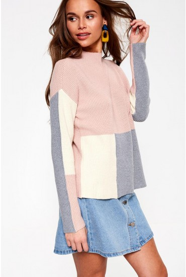 Sanne High Neck Knit Jumper in Colour Block