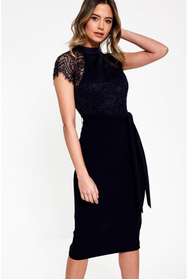 Lyla High Neck Lace Midi Dress in Navy