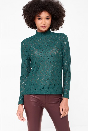 Tag High Neck Lace Top in Pine Green