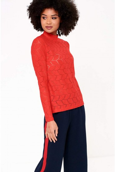 Tag High Neck Lace Top in Red