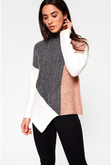 Janice High Neck Pullover in Blush