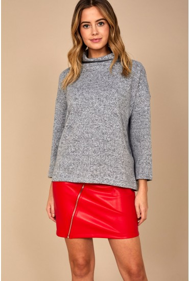 Alpin High Neck Top in Light Grey