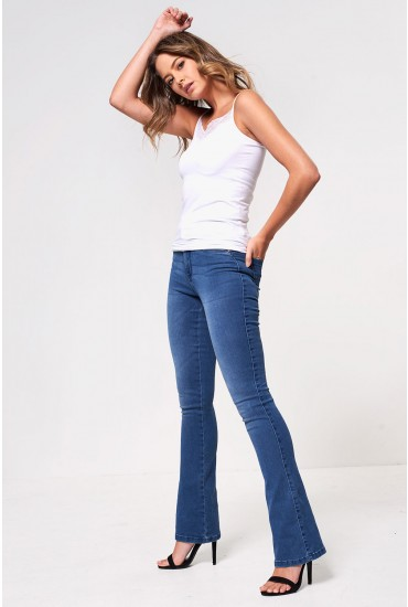 Royal Regular High Rise Flared Jeans in Mid Wash Blue