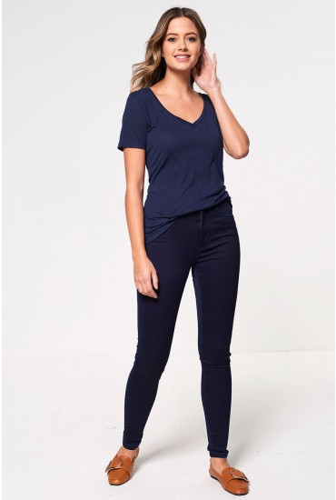 Royal Short High Skinny Jeans in Dark Blue
