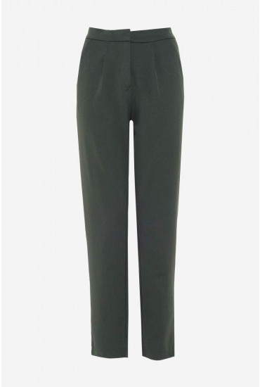 Lara High Waist Ankle Trousers in Green