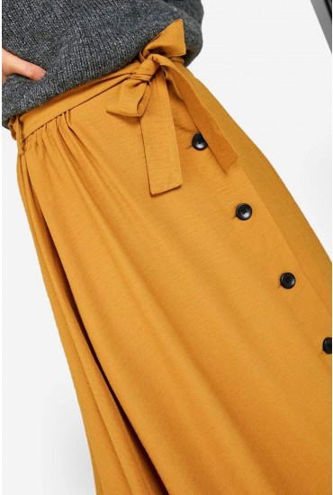 Elsa High Waist Button Up Skirt in Chartreuse