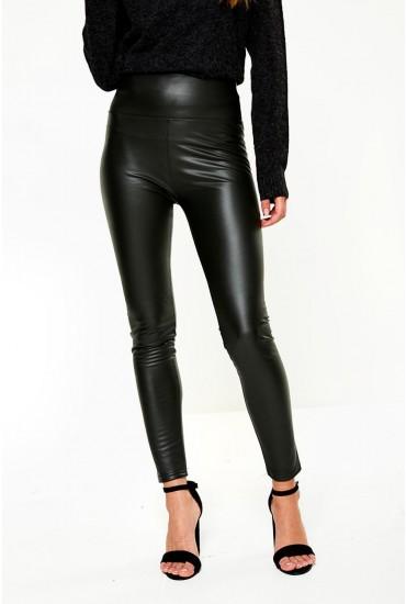 Hana High Waist Fleece Lined Wet Look Leggings in Olive