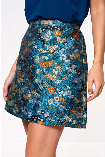 Wilderness High Waist Mini Floral Jacquard Skirt in Teal