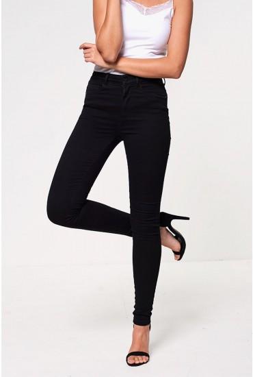 Sophia Petite High Waist Skinny Jeans in Black