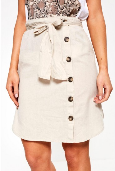 Line High Waist Skirt in Beige