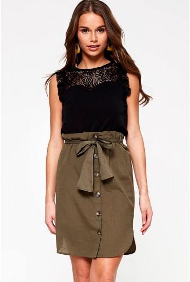 Line High Waist Skirt in Khaki