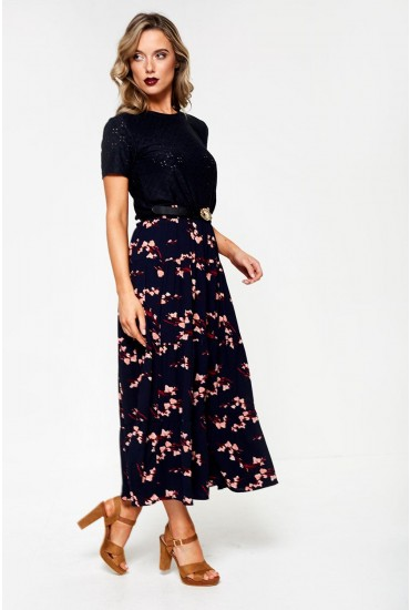 Saga High Waist Skirt In Navy Floral Print