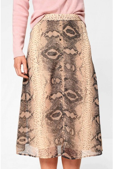 Daisy High Waist Skirt in Snakeskin