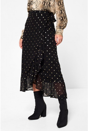 Dota High Waist Wrap Skirt in Black Spot Print