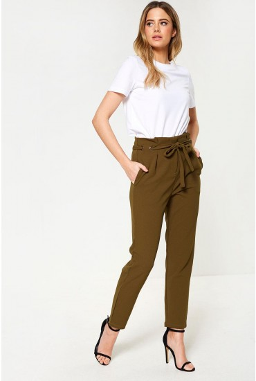 Loan High Waisted Eyelet Trouser in Dark Olive