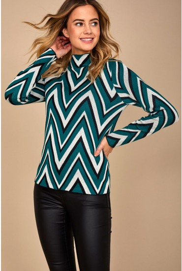 Kirsten Long Sleeve Highneck Blouse in Green