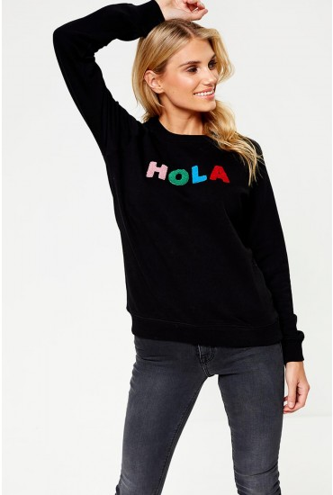 Alanis Hola Adios Slogan Sweatshirt in Black