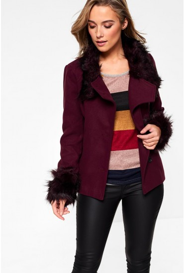 Empress Short Jacket with Fur Detail in Wine