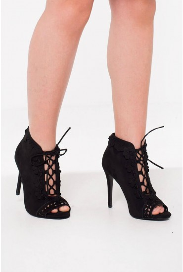Kate Lace Up Booties in Black Suede