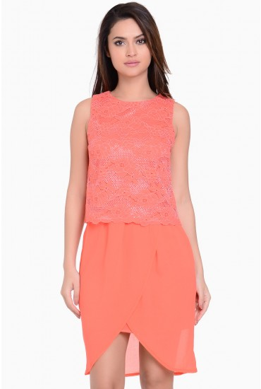 Lucia Lace Top Dress in Coral