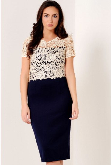 Blythe Lace Overlay Dress in Navy