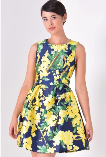 June Printed Tulip Dress in Yellow