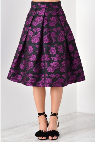 Cara Rose Print Skirt in Purple