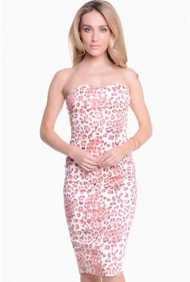 Adalia Leopard Bandeau Midi Dress in Peach